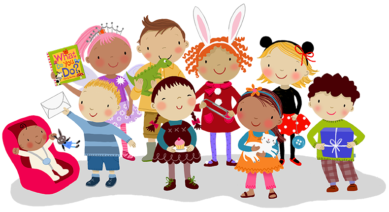 Group of children illustrated by Mandy Stanley