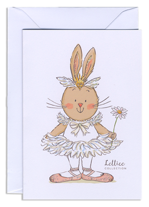 Odette/Lettice greeting card with white envelope.