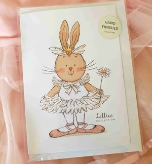 Odette/Lettice greeting card lying on pink tulle.